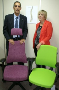 Richard Hughes of Chrisbeon and Amy Vowles of Osteopathy Plus with chairs recommended for back pain sufferers.