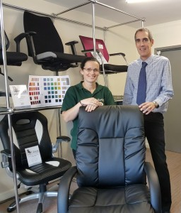 Shelly is presented with her brand new leather executive chair by Chrisbeon partner Richard Hughes.