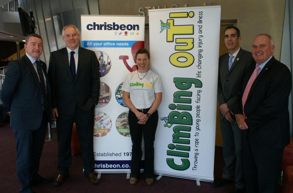 Left to right:  Chamber Patrons Nick Jones and Craig Hughes, Kelda Wood, Chamber Patron Richard Hughes and Chamber Chief Executive Richard Sheehan.