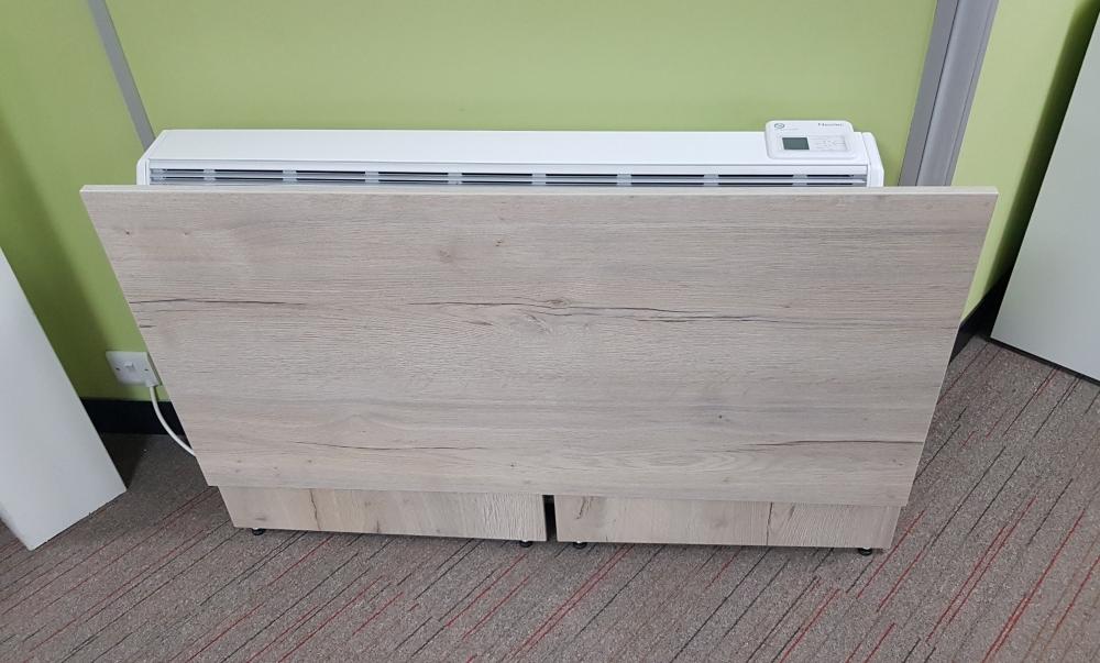 Folding desk in its flat form