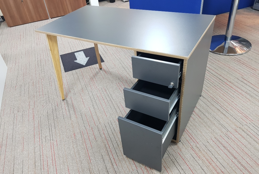 Grey desk with drawers